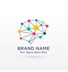 Digital brain concept design logo vector
