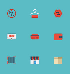 Flat icons qr purse support and other vector
