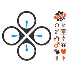 fly drone icon with lovely bonus vector image