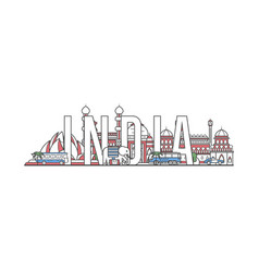 India travel lettering in linear style vector