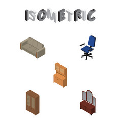 Isometric design set of cupboard drawer office vector