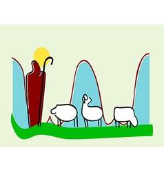 Jesus leader sheep silhouette icon vector