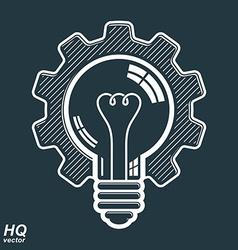 Light bulb shape high quality cog wheel technical vector