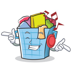 Listening music laundry basket character cartoon vector