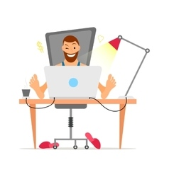 Male with beard freelancer working remotely from vector image