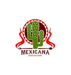 mexican cuisine restaurant cactus icon vector image