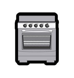 Monochrome thick contour of stove with oven vector