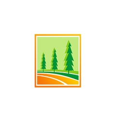 Pine tree green hill logo vector