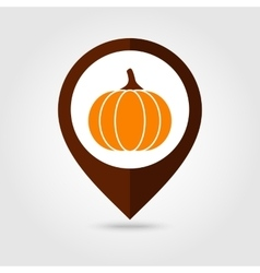 Pumpkin mapping pin icon harvest thanksgiving vector