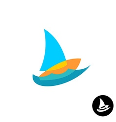 Sail boat yacht club colorful logo overlay style vector
