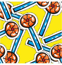 seamless pattern orange lolipop isoleted on vector image vector image