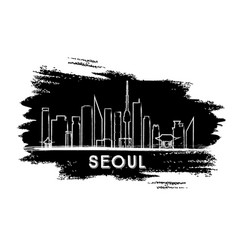 seoul skyline silhouette hand drawn sketch vector image