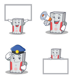 Set of computer character with board police vector