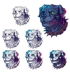 Set of evil mad dogs vector