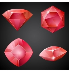 Set of red gemstones vector image vector image