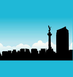 silhouette of mexico city beauty scenery vector image vector image