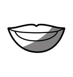 Silhouette shading of of woman lips with teeths vector