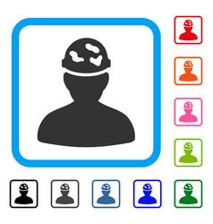 soldier under spotted helmet framed icon vector image