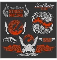 Sports car club emblems labels and badges set vector
