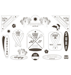 surfing labels black and white set vector image vector image