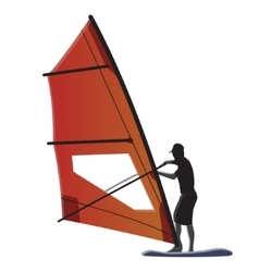 Windsurfer with orange sail vector