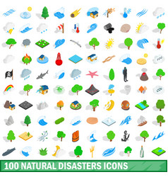 100 natural disasters icons set isometric style vector