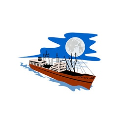 Passenger ship cargo boat retro vector