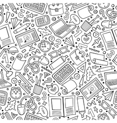 Cartoon cute hand drawn school seamless pattern vector