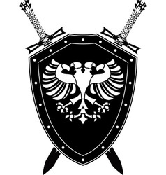 Heraldic eagle and swords vector