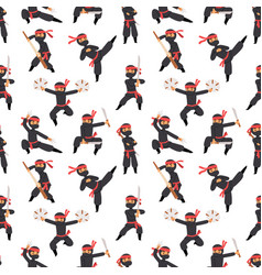 Different poses of ninja fighter in black cloth vector