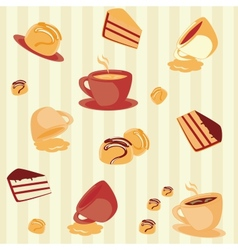 Seamless pattern with cups and cakes vector