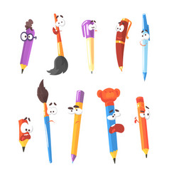 smiling pen pencils and brushes series of vector image