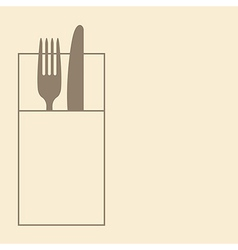 Knife fork and napkin vector