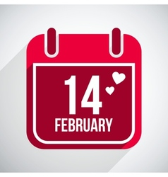 Valentines day flat calendar icon 14 february vector
