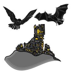Halloween castle with owl and bat vector