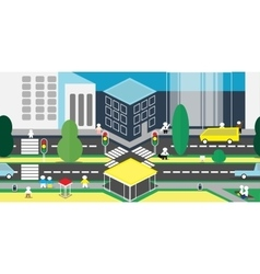 Background of city with residents vector
