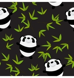 Cute little panda with bamboo leaves seamless vector