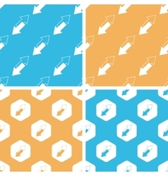 Opposite arrows pattern set colored vector