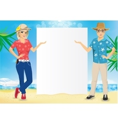 Couple with a blank presentation board vector