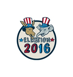 Us election 2016 mascot donkey elephant circle vector
