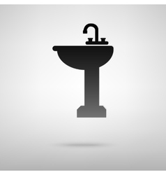 Bathroom sink black icon vector