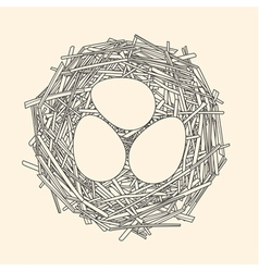Straw nest with three eggs vector image