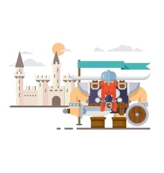 Viking and the castle vector