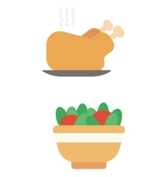 Whole roasted chicken and bowl full of tomatoes vector