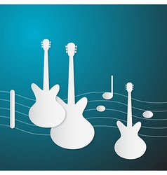 Abstract Blue Music Background Guitars and Staff vector image