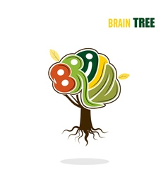 Abstract brain tree logo template vector image