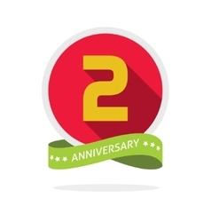 anniversary 2nd logo template with a shadow on red vector image vector image