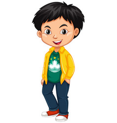 boy wearing shirt with macau flag vector image vector image