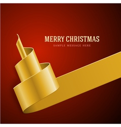 Christmas golden tree from ribbon vector