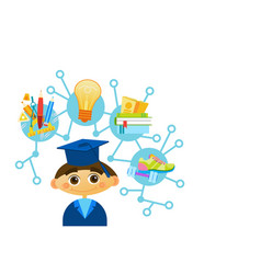 Cute liitle boy weating graduation cap and gown vector